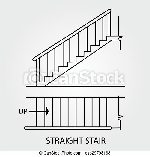 View of a straight staircase - csp29798168