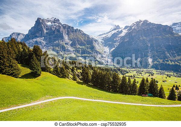 View of alpine Eiger village. Location place Swiss alps, Grindelwald, Europe. - csp75532935