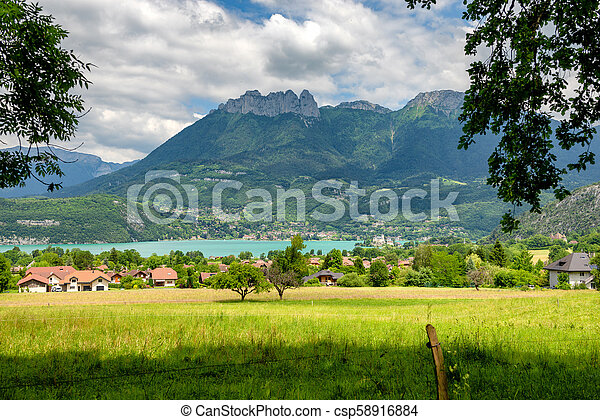 view of Annecy lake in french Alps - csp58916884