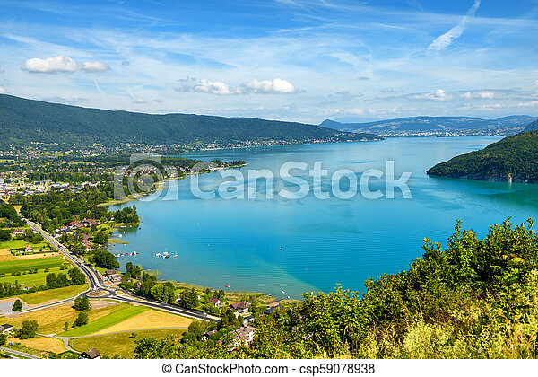 view of Annecy lake in french Alps - csp59078938