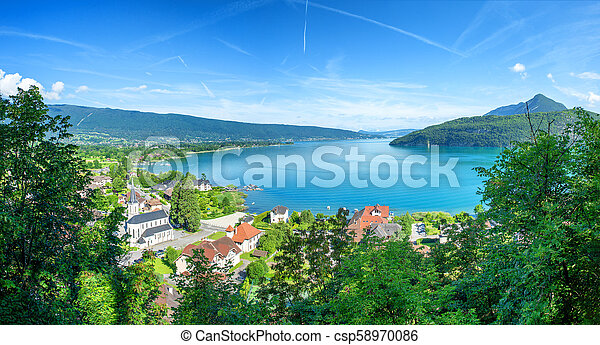 view of Annecy lake in french Alps with Duingt village - csp58970086