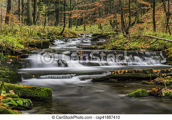 View of autumn waterfalls - csp41887410