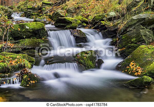 View of autumn waterfalls - csp41783784