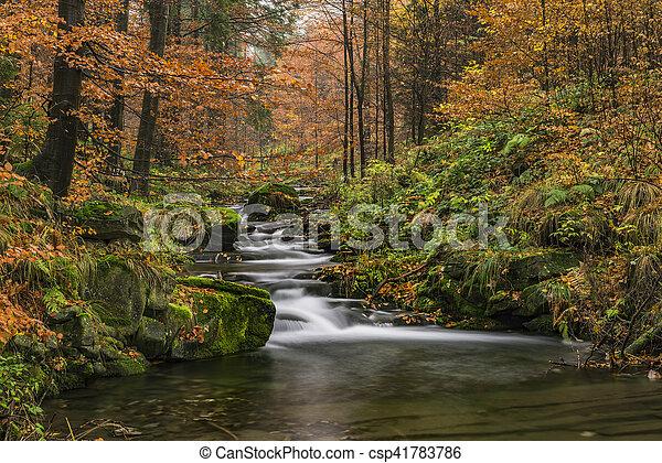 View of autumn waterfalls - csp41783786
