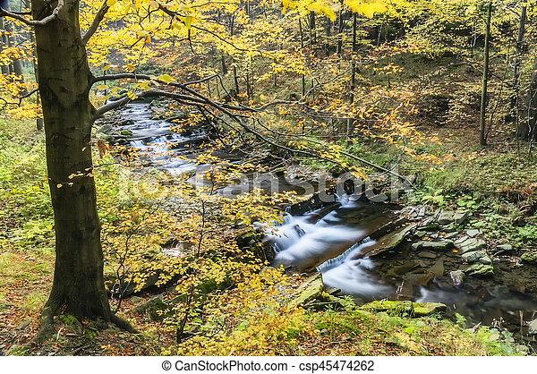 View of autumn waterfalls - csp45474262