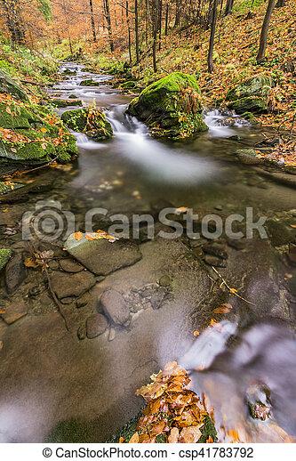 View of autumn waterfalls - csp41783792
