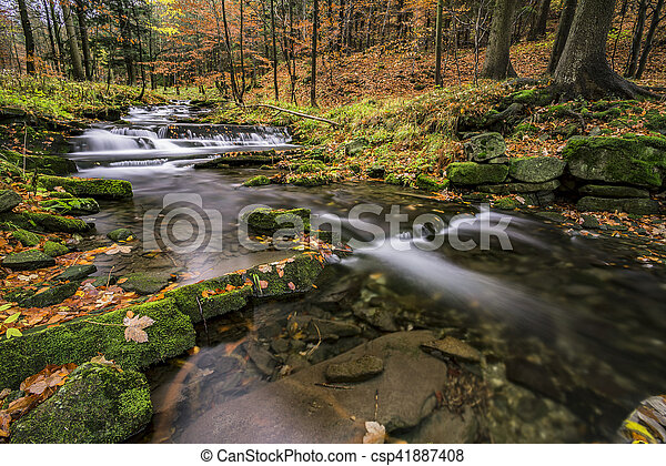 View of autumn waterfalls - csp41887408