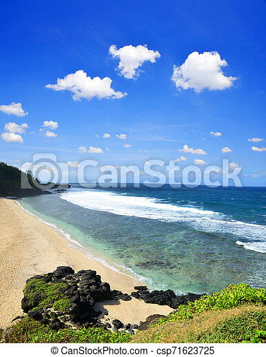 View of beautiful tropical beach Gris Gris from cliff in Souillac on South of Mauritius island. - csp71623725
