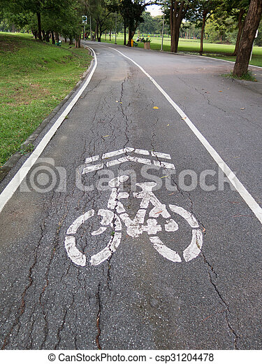 view of bike road in a park - csp31204478