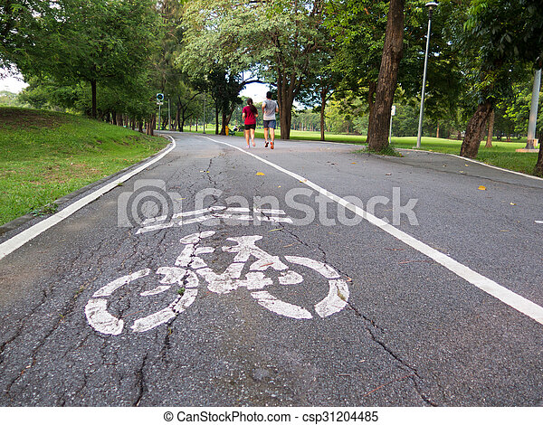 view of bike road in a park - csp31204485