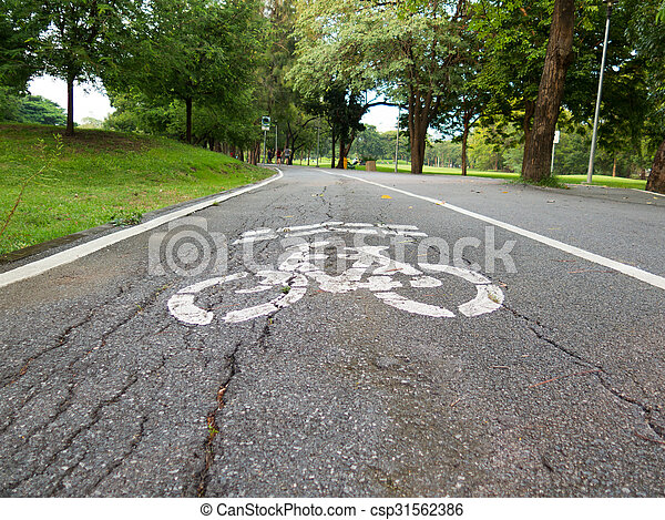 view of bike road in a park - csp31562386