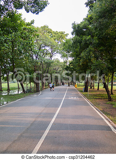 view of bike road in a park - csp31204462