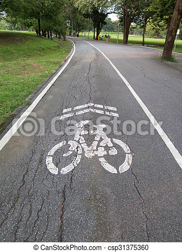view of bike road in a park - csp31375360