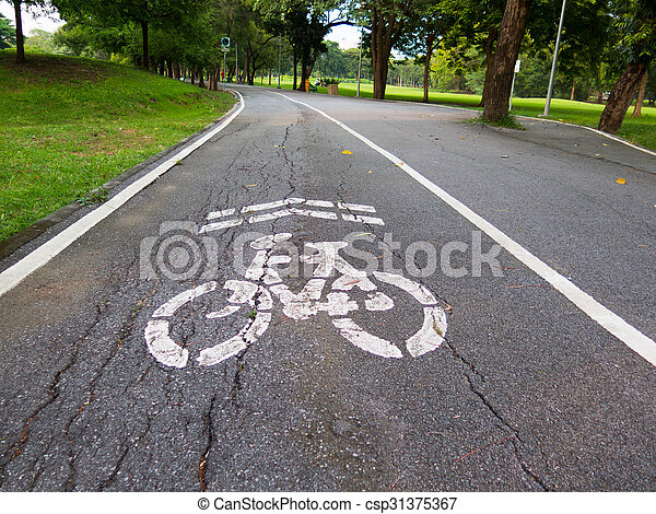 view of bike road in a park - csp31375367