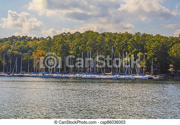 View of boats parked at a marina at the lake - csp86036003