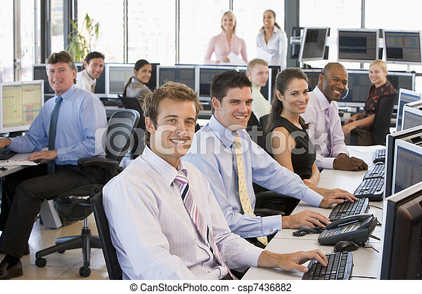 View Of Busy Stock Traders Office - csp7436882