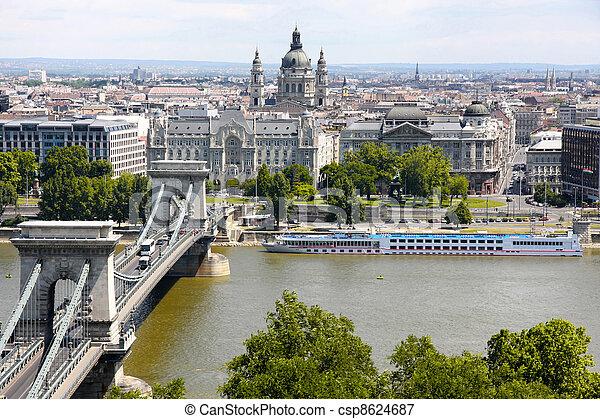 view of chain bridge in Budapest, Hungary - csp8624687