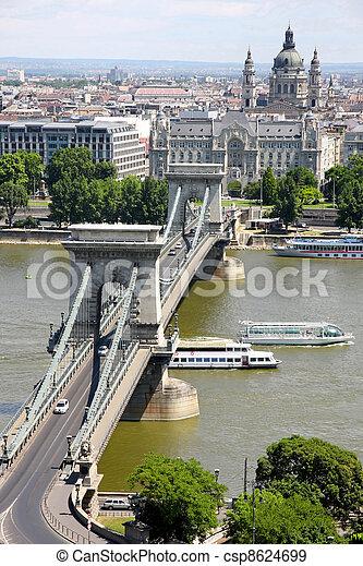 view of chain bridge in Budapest, Hungary - csp8624699