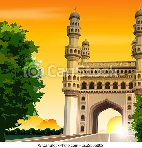 view of charminar, hyderabad, india, travel, road - csp2555802