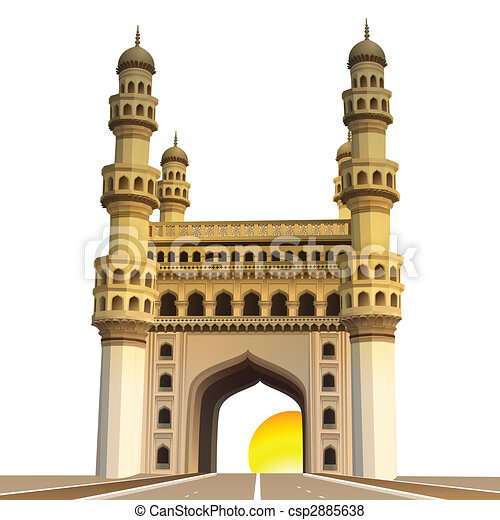 view of charminar, with sun and white background - csp2885638
