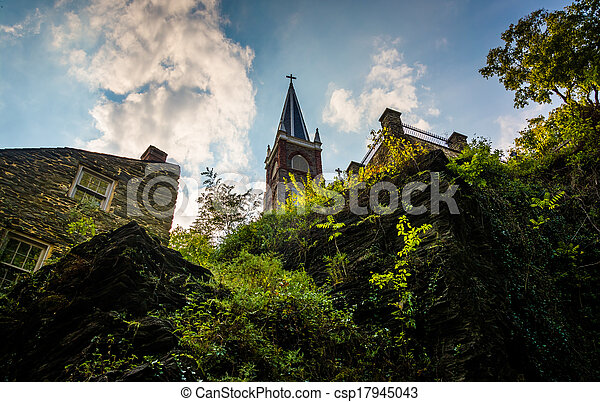 View of cliffs and St. Peter's Roman Catholic Church in Harper's Ferry, Virginia. - csp17945043