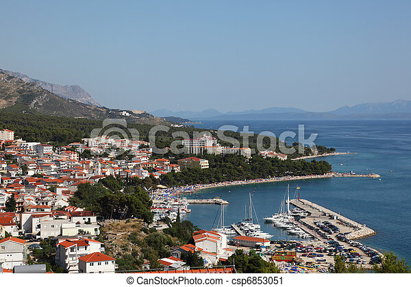 View of Croatian resort Baska Voda. Photo taken at 9th of July 2011 - csp6853051