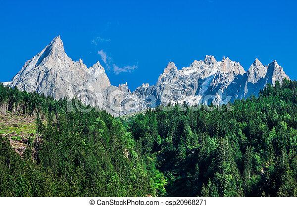 View of Dru Peak in Chamonix, Alps, France - csp20968271