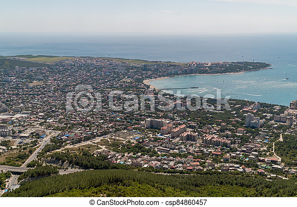 View of Gelendzhik Bay from the height of the Markhotsky ridge in summer. - csp84860457