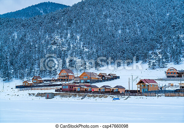 View of Goloustnoye Village at Lake Baikal - csp47660098