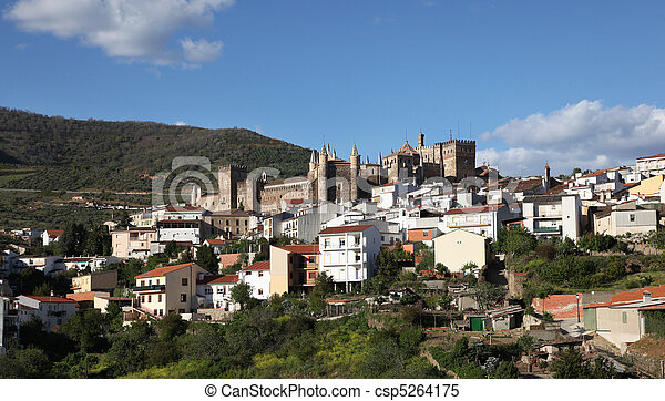 "View of Guadalupe town and the historic ""Real Monasterio De Santa Maria"" in Guadalupe Extremedura Spain. This monastery is a UNESCO world heritage site and dates back to 1340. - csp5264175"