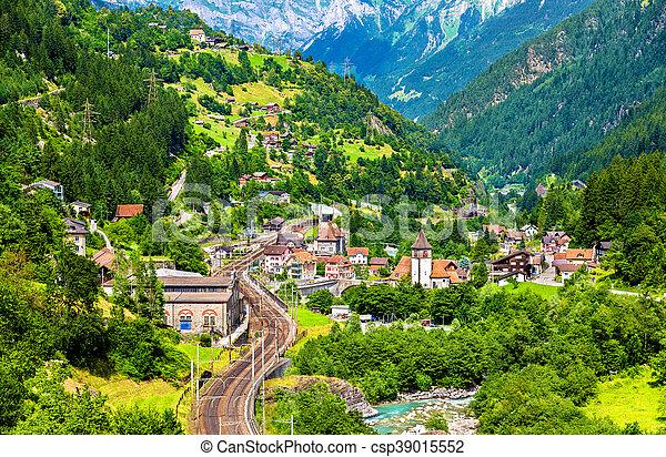 View of Gurtnellen, a village in Swiss Alps - csp39015552