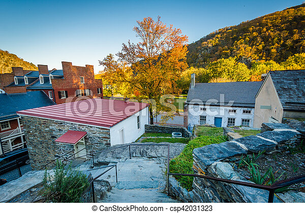 View of historic buildings and autumn color in Harpers Ferry, West Virginia. - csp42031323