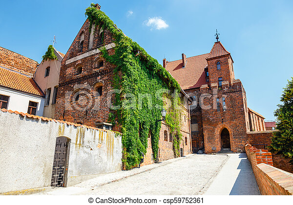 view of historical buildings in polish medieval town Torun in Poland. Torun is listed among the UNESCO World Heritage Sites - csp59752361