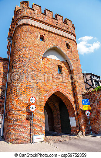 view of historical buildings in polish medieval town Torun in Poland. Torun is listed among the UNESCO World Heritage Sites - csp59752359