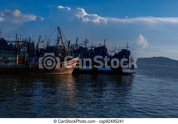 View of industrial ships in the port of Songkhla Lake near by Nang ngam road in the southern sea of Thailand - csp92495241