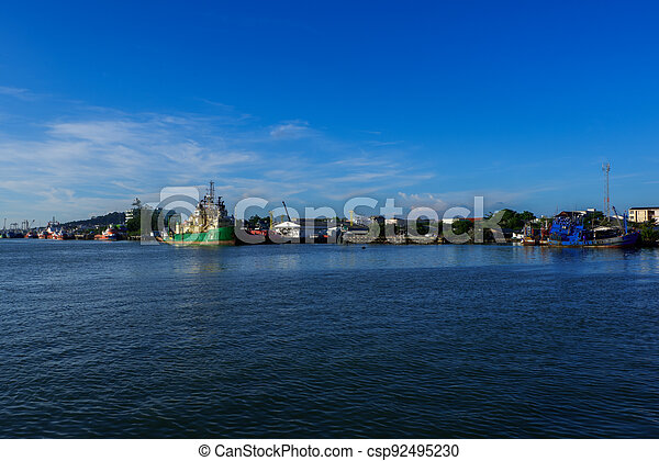 View of industrial ships in the port of Songkhla Lake near by Nang ngam road in the southern sea of Thailand - csp92495230