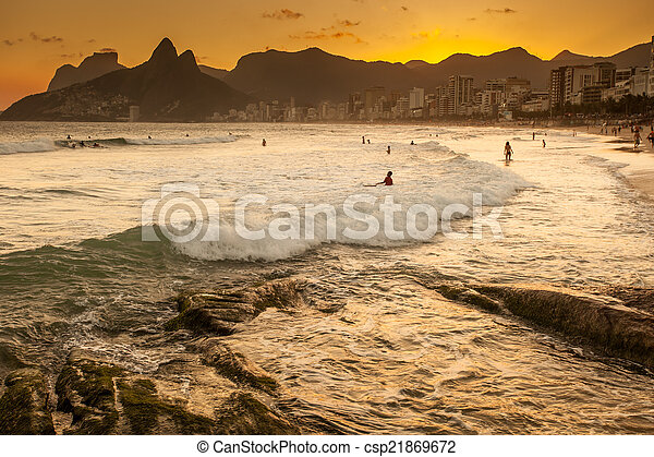 View of Ipanema Beach in the evening, Brazil  - csp21869672