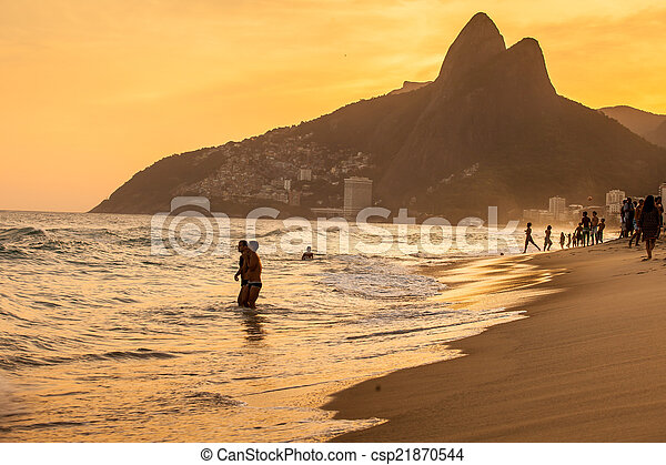 View of Ipanema Beach in the evening, Brazil  - csp21870544