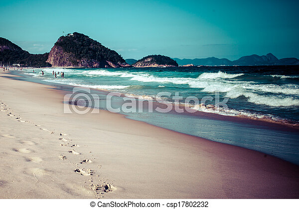 View of Ipanema Beach in the evening, Brazil  - csp17802232