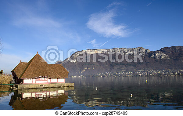 view of Lake Annecy in autumn - csp28743403