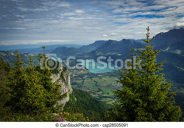view of Lake Annecy in the French Alps - csp28505091