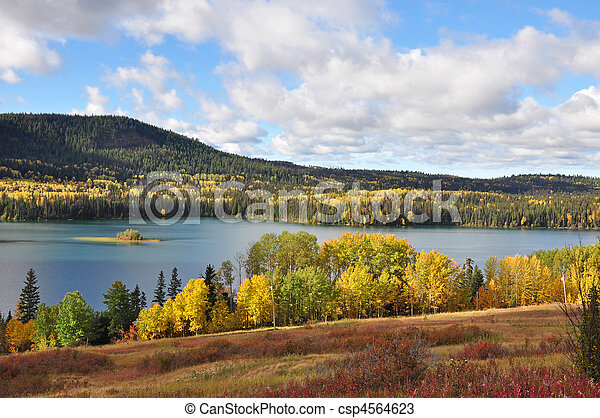 View of lake in autumn - csp4564623