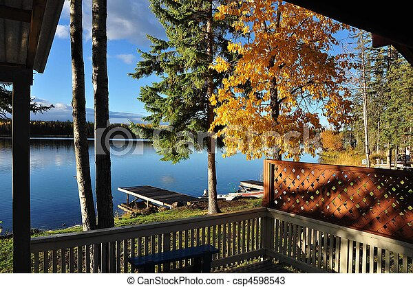 View of lake in autumn - csp4598543