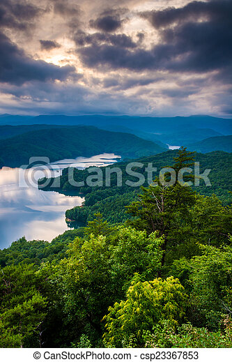 View of Lake Jocassee at sunset, from Jumping Off Rock, North Ca - csp23367853