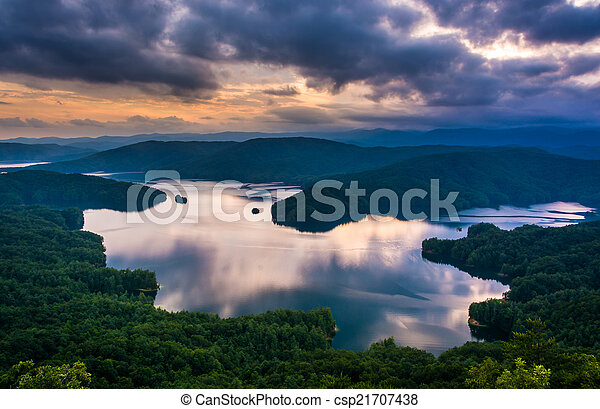View of Lake Jocassee at sunset, from Jumping Off Rock, North Ca - csp21707438