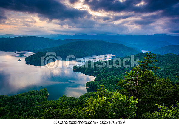 View of Lake Jocassee at sunset, from Jumping Off Rock, North Ca - csp21707439