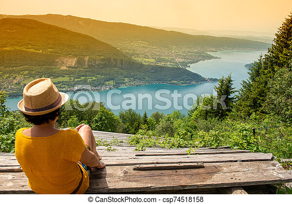 view of lake of Annecy, french Alps - csp74518158