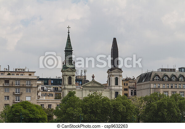 view of landmarks in Budapest - csp9632263