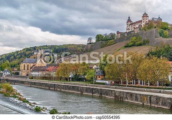 View of Marienberg Fortress, Wurzburg, Germany - csp50554395