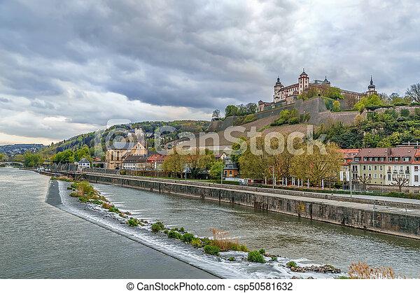 View of Marienberg Fortress, Wurzburg, Germany - csp50581632